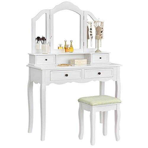 ArtLife Schminktisch Fiona mit Hocker, Spiegel & Schubladen | weiß | Landhausstil | Holz | Frisiertisch Kosmetiktisch Make-up Tisch Dressing Table