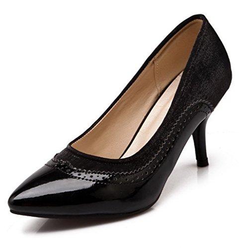 VogueZone009 Femme Pointu Stylet Tire Couleurs Mélangées Chaussures Légeres Noir