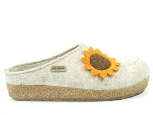 Haflinger Schuhe Damen Hausschuhe Pantoffeln Wollfilz Grizzly Maya 731041 Beige