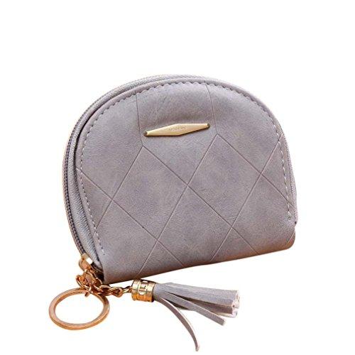 Portafoglio Donna, Tpulling Borsa delle donne semplice borsa della borsa della borsa del raccoglitore della borsa (Beige) Gray
