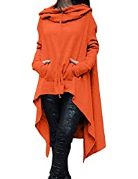 La Mujer De Manga Larga Con Capucha Otoño Irregular Tunica Blusa T - Shirt Tops Plus
