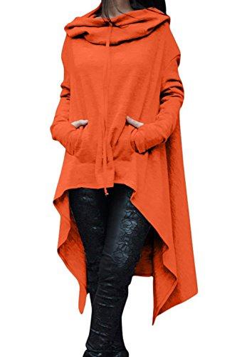 Le Donne Di Autunno Manica Lunga Tunica Con Cappuccio Irregolare Camicetta Al Massimo Di Taglia Orange