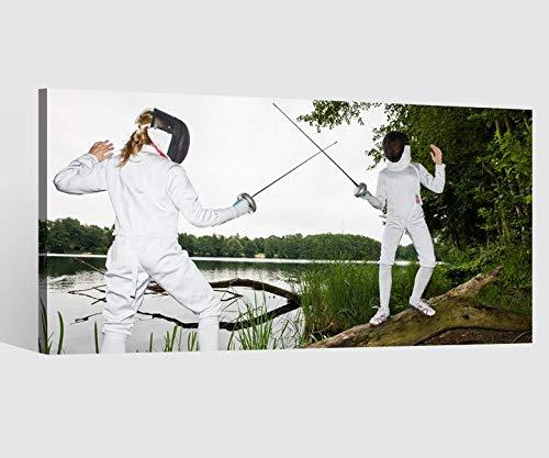 Leinwandbilder Sport Fechten Rapier Kat8 Maske Baum Leinwand Bild Leinwandbild Wandbild Holz 9BD450, Leinwand Größe 1:40x20cm