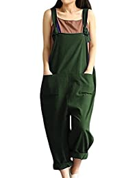 25560824805 Vosujotis Women Cotton and Linen Overalls Baggy with Pockets Jumpsuits  Casual Romper