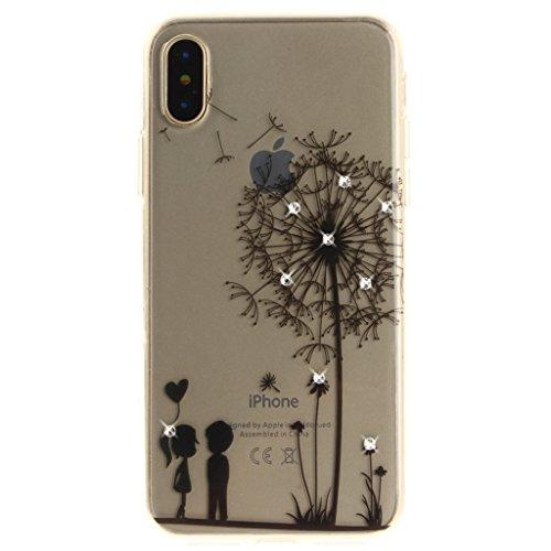 Cover iPhone X , YIGA Moda nero Mezzi di fiori Trasparente Morbido TPU Silicone Flessibile Gel Guscio Cover Protettiva Bumper Case Cassa di Cristallo Diamante Protezione Copertura Custodia per Apple i Z-Q11