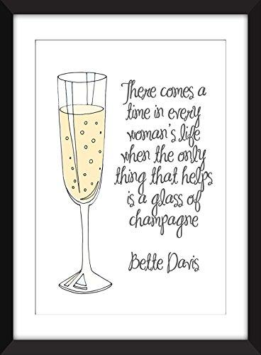Bette Davis Champagne Quote Unframed Print. / Ungerahmter Druck -