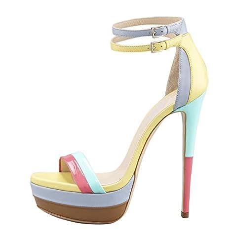 Onlymaker Fashoin Sandales Cuir Faux A Talons Hauts Aiguille Multi Brides Cheville Multicolore Party Soirée Dress Shoes Femme EU35