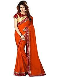 Greenvilla Designs Orange Chiffon Bollywood Saree With Blouse
