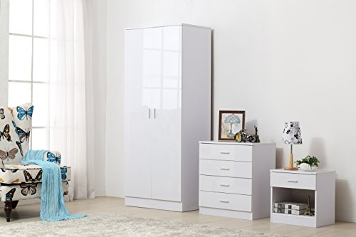 OSSOTTO HIGH GLOSS 3 Piece Bedroom Furniture Set - Includes Soft Close Wardrobe, 4 Drawer Chest & Bedside Cabinet (White on White)