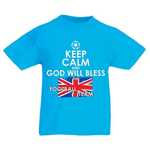 T-Shirt per Bambini God Will Bless The North Irish Football Team (14-15 Years Azzurro