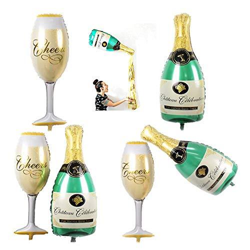 MOTZU 6 Stücke/3 Sets,Folienballon Luftballon, | Großer Champagner Sekt Glas Bierflasche Ballons |50 x 96cm | Überraschung für Geburtstag, Hochzeit,Party Deko Sektempfang Mitbringsel,Grün/Gold (Glas Flasche Herzstück)