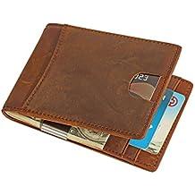 Cartera con Bloqueo RFID, Carpeta del Cuero, Clip de Billetera, Piel Auténtica Cartera Slim Tarjeta de Crédito