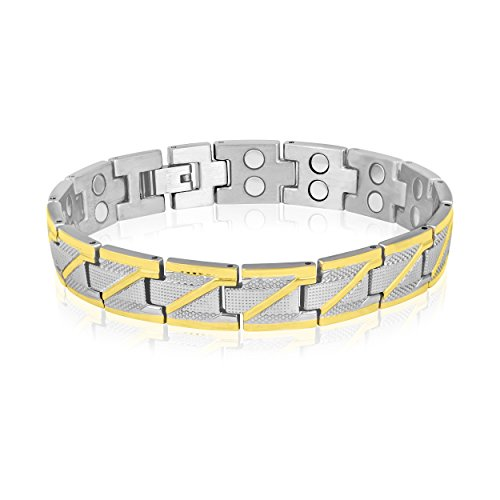 Magnaz Golden Silver Bio Magnetic Therapy Titanium Bracelet for men/women  available at amazon for Rs.1450