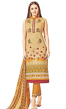 29378d5ab0 Surkhab Impressions Women's Pure Lawn Cotton Unstitched Salwar Suit Dress  Material Brown ( Free Size)
