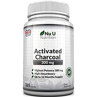 Activated Charcoal 300mg 365 Capsules (not tablets) | One Year Supply of Triple Strength Activated Charcoal by Nu U Nutrition
