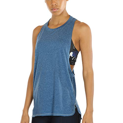 icyzone Sport Tank Top Damen Locker - Yoga Fitness Shirt Racerback Oberteile atmungsaktive (Denim, XS) - Top Black Denim