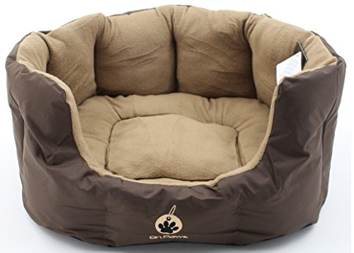 on-paws-sleep-tight-nest-5-sizes-2-colours-brown-dog-bed-size-l-65cm-x-27cm