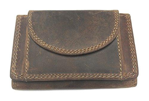 Echt Leder MINI Geldbörse Geldbeutel Portemonnaie, Vintage Braun, Unisex