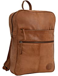 "Gusti Leder studio ''Amber'' Daypack Lederrucksack 30 x 41 x 9 cm Laptoprucksack MacBook Air 13"" Rucksack für Outdoor Klassiker Ziegenleder Echt Leder Vintage Robust Braun 2M49-29-1"