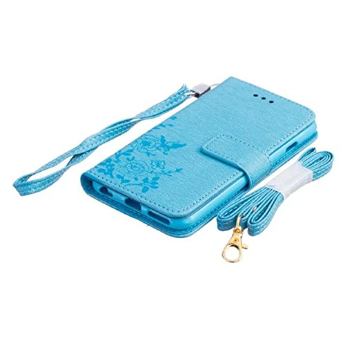 iPhone 6 Coque, iPhone 6S Coque, Lifeturt [ Blanc ] Leather Case Wallet Flip Protective Cover Protector, Etui de Protection PU Cuir Portefeuille Coque Housse Case Cover Coquille Couverture avec Foncti E02-Bleu