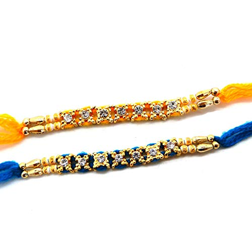 Satz von 6, 7 Stein mit Moti Rakhi Faden, Raksha Bandhan Geschenk für Ihren Bruder Blau und Orange Farbe