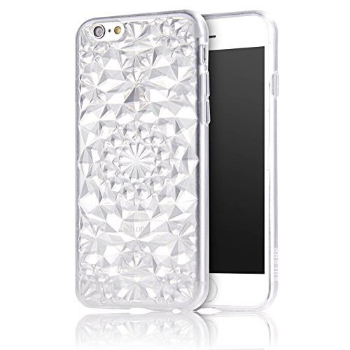 iPhone 6S(4.7 pollice) Cover, Bonice iPhone 6 Custodia, Lusso 3D Diamante Crystal TPU Ultra Clear Slim Bling Strass Case – Bianca Bianca