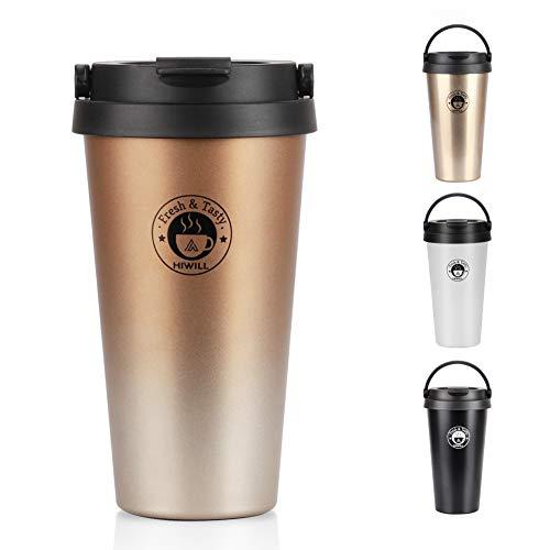 Hiwill doppia parete sottovuoto ermetica thermos tazza di caffè, in acciaio INOX,...
