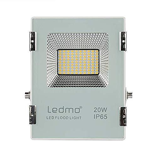 LEDMO 20W faretto led esterno bianco caldo 2700k impermeabile IP65 faro led 1800lm faretti led esterno SMD2835 AC200-240V per giardino [Classe di efficienza energetica A+]