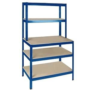 steckregal aktenregal werkstattregal lagerregal kellerregal regal 180x100xz60 blau. Black Bedroom Furniture Sets. Home Design Ideas