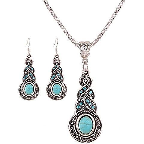 Hot 3 opali naturali in argento con pietra turchese ovale-Set di collana e orecchini da donna, in confezione regalo - 3 Pietra Turchese Orecchini