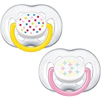 Philips Avent SCF180/28 - Pack de 2 chupetes ventilados decorados para niña de 6-18 meses, color rosa/amarillo