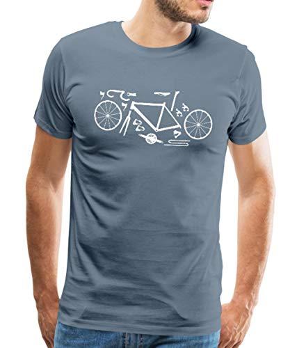 Spreadshirt Rennrad Kit Fahrrad Bike Komponenten Männer Premium T-Shirt, XL, Blaugrau