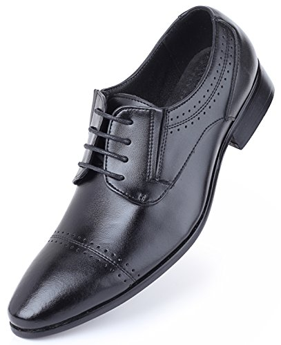 Mio Marino Leder Herren Anzugschuhe: Elegante Derby Schuhe aus Echtleder - Schnürhalbschuhe & Business Schuhe für jeden Anlass Schwarz - Oxford