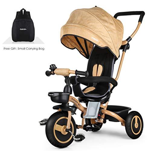 Fascol 4 en 1 Triciclo Bebé Plegable por 6 Meses a 5 Años Triciclos Niños Evolutivo Plegable Trikes Máx 30 kg, Dorado