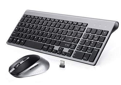 BJL Tastiera e Mouse Wireless,Full-Size Tranquilla Slim Tastiera Numerico e Mouse Ergonomico da 2400 DPI per PC,Desktop,Computer,Notebook,Laptop,Windows XP/Vista/7/8/10(QWERTY Italia)-Nero e Grigio