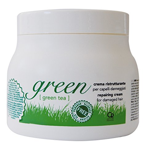 Green - Crema Ristrutturante per Capelli Danneggiati - Trattamento Maschera per Capelli Deboli e Danneggiati con Cheratina - 500 ml
