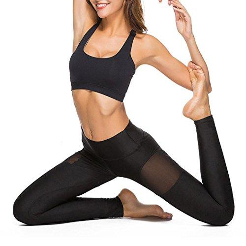 Leggings Hosen Damen Yoga Pants Sportleggings Sporthosen Jogginghose Mesh Yoga Yogahose Slimming Sportswear Sport Running Joint Elastische Yoga Hose Gym Hohe Elastic Strumpfhose,ABsolute (L, Schwarz)