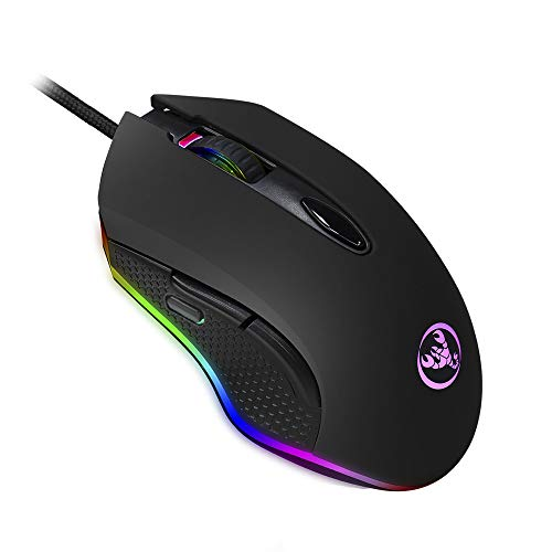 QueenDer Optical Gaming Mouse【New Version&6 Programmable Buttons】USB Wired Mouse Ergonomic with 12 DPI Adjustable 20 Million RGB LED Gamer Mouse for PC Computer Laptop Notebook Win 7/8/10/XP/Vista