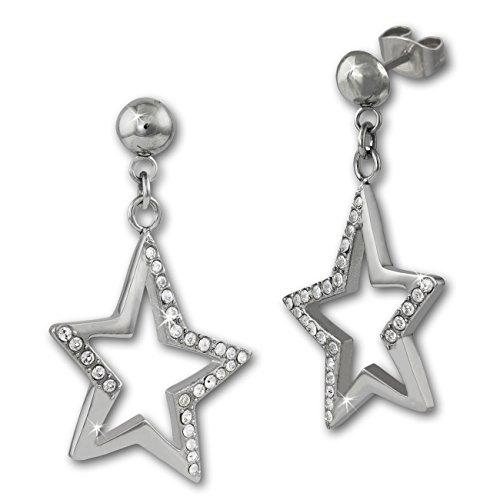 Adamello orecchini a forma di stella con zirconi in bianco per Donna Orecchini in acciaio Stainless Steel ESOX20W
