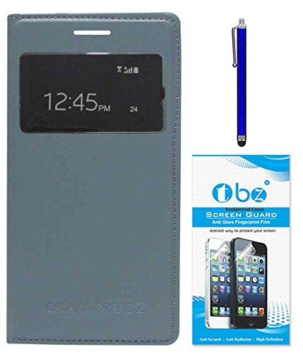 TBZ S-View Flip Cover Case for Samsung Galaxy Grand 2 with Stylus Pen and Tempered Screen Guard -Grey  available at amazon for Rs.479