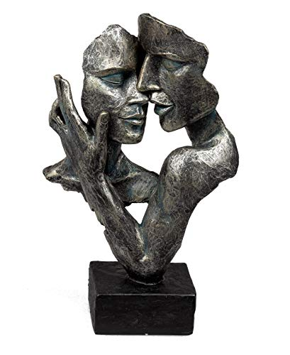Deko Figur, Moderne Büste, Skulptur Kuss und Nichts sehen hören Sagen (32 cm - anthr.)