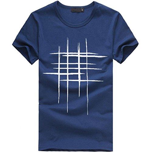 LuckyGirls Camisetas Hombre Originales Algodón Verano Manga Corta Rayas Polos Casual Camisas (3XL, Navy)