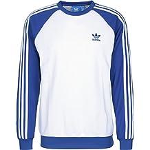 adidas Sst Crew Sudadera, Hombre, Blanco (Blanco / Azul), M