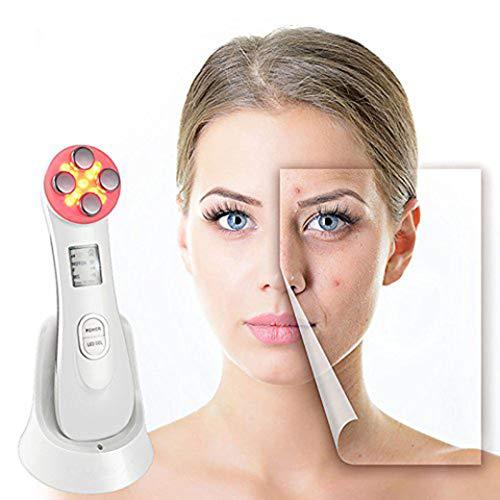 Matrix-rote Lichter (Ultraschall-Schönheit Device,5In1 Ultraschall-Rot-LED-Licht-Theragy Und 6 Modes Face Massager Für Skin Care Facial Cleaner Anti-Aging-Das Aussehen Von Haut Durch Falten Alter Und UV-Rays Beschädigt)