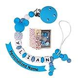 Schnullerkette mit Namen Jungen Maximal 9 Buchstaben Longe Personalisierte Zahnen Silikon Selber Blau(blue)