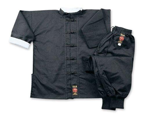 M.A.R. International Kung Fu-Anzug Kostüm Gear Martial Arts WU Shu Wing Chun Tai Chi Baumwolle Stoff, schwarz 180 cm schwarz