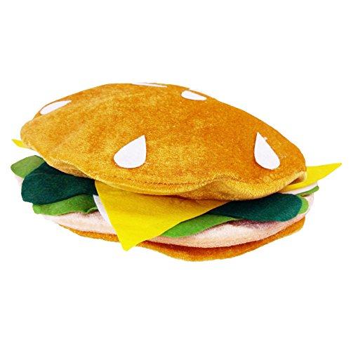 Pizza Kostüm Dog - Lustige Partyhüte mit Nahrungsmittelhüten - Pizza Hamburger Hot Dog Kostüm Party Dress Up - Kochmütze One Size Hamburger Hat