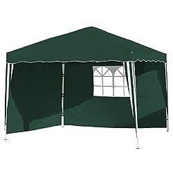 Vanage Pavillon Stella grün aus Aluminium mit 4 Seitenwänden, 300x300x260cm, Faltpavillon einsetzbar als Gartenpavillon, Party- und Festzelt, Camping- und Festival-Zelt, Gartenmöbel