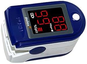 Pulox PO-100 Pulsoximeter mit LED-Anzeige, blau, inkl. Hardcase, Duracell Bat., Schutzhülle, Nylontasche und Trageband