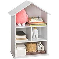 SoBuy Librería Infantil para niños con 4 compartimientos, Estantería estándar Infantil,Blanco,H89cm,KMB02-W,ES